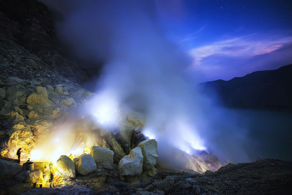 Blue fire of Ijen crater