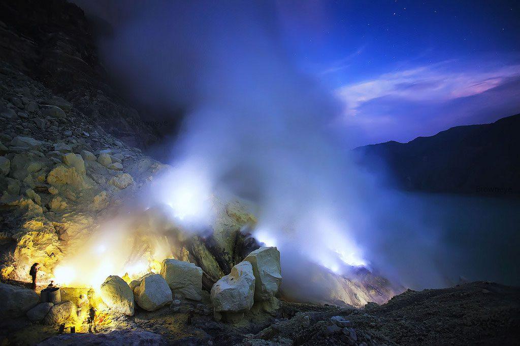 Blue fire of Ijen crater