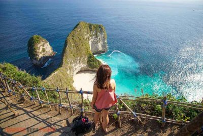 The stairs to reach Klingking beach in Nusa Penida