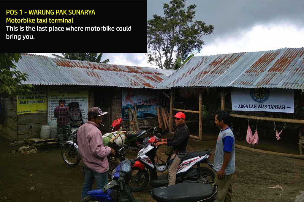 Motorbike base camp in Mt. Raung