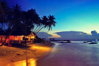 The beach view In the moment of sunset in Derawan islands